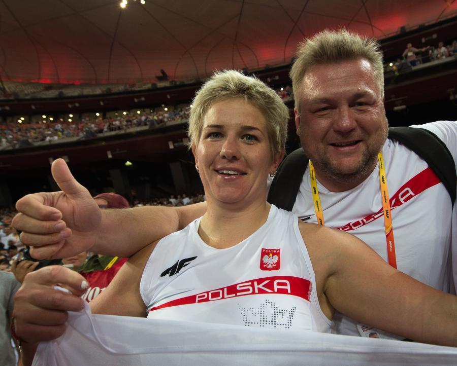 Anita Włodarczyk i jej trener Krzysztof Kaliszewski