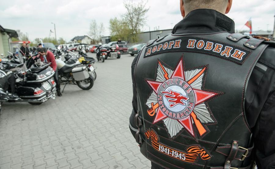 """Europejscy członkowie klubu motocyklowego """"Nocne Wilki"""""""