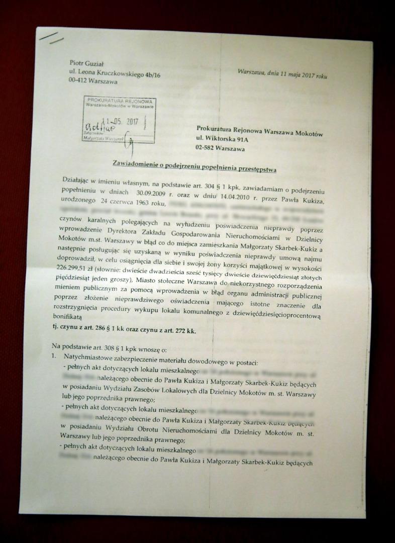 Zawiadomienia do prokuratury o podejrzeniu popełnienia przestępstwa przez posła Pawła Kukiza
