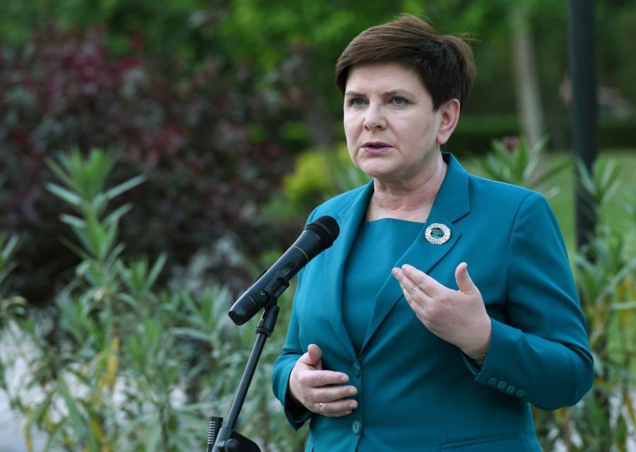 Premier Beata Szydło podczas konferencji prasowej po zakończeniu forum Pasa i Szlaku