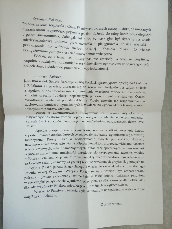 List Marszałka Senatu do Polonii