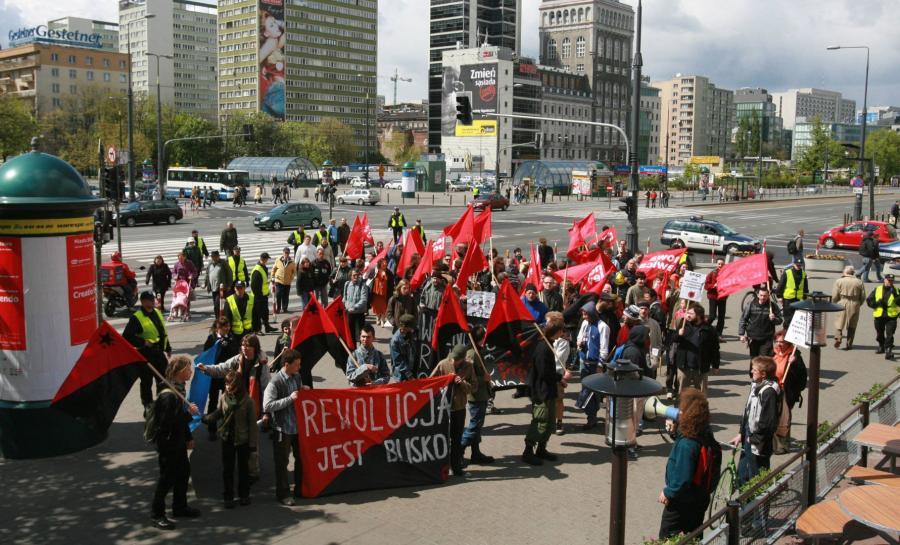 Warszawa 2007. Manifestacja syndykalistów i Nowej Lewicy