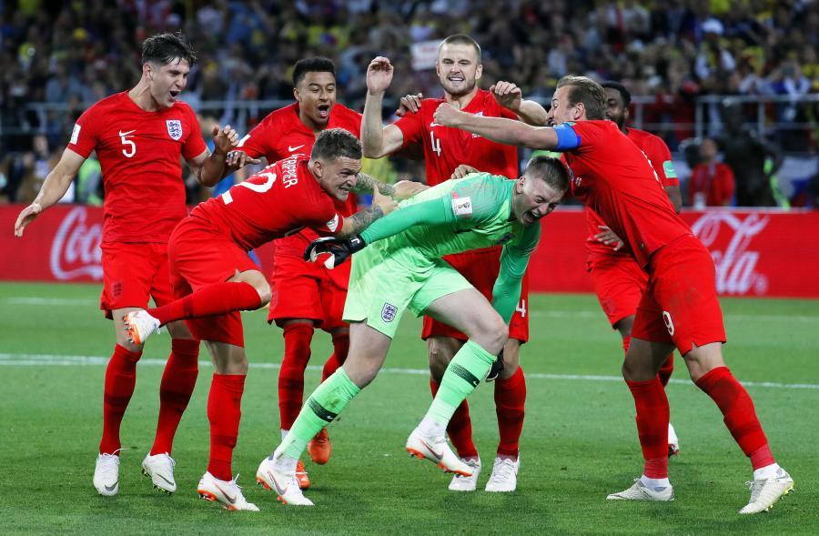 Radość Anglików po pokonaniu Kolumbii