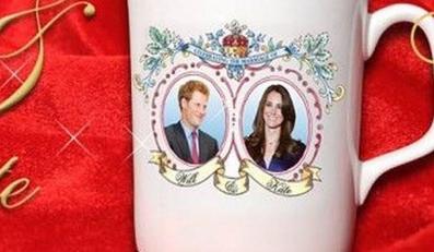 Pamiątkowy kubek z wizerunkiem Kate Middleton i jej narzeczonego, księcia... Harry'ego. źródło: www.guandonenterpricesltd.com