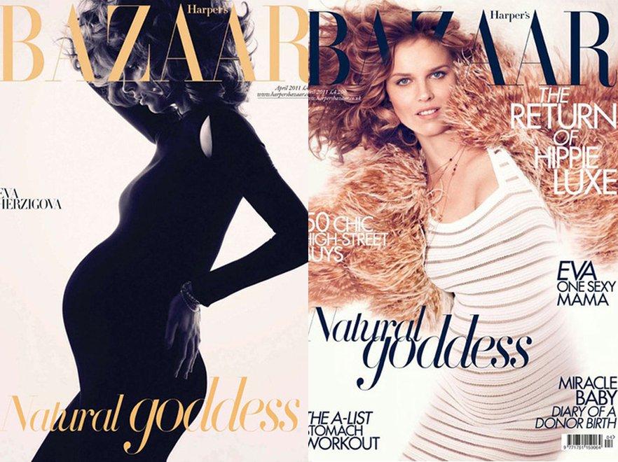 Sexy mama: ciężarna Eva Herzigova na okładkach Harper\'s Bazaar