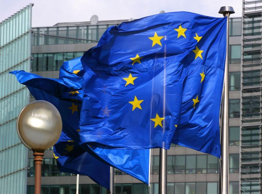 Unijne flagi w Brukseli