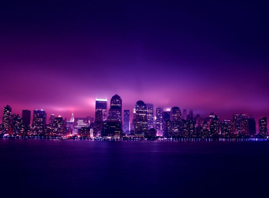 Nocny widok na Manhattan