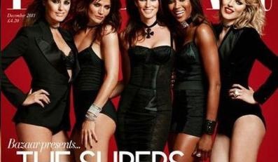 "Yasmin LeBon, Helena Christensen, C indy Crawford, Naomi Campbell i Eva Herzigova na okładce ""Harper's Bazaar. Fot. Jonas Akerlund"