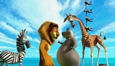 """""""Madagaskar 3"""" i jego bohaterowie: zebra Marty, lew Alex, hipopotamica Gloria i żyrafa Melman"""
