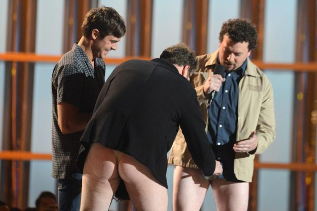 Zac Efron, Seth Rogen i Danny McBride podczas gali MTV Movie Awards 2013