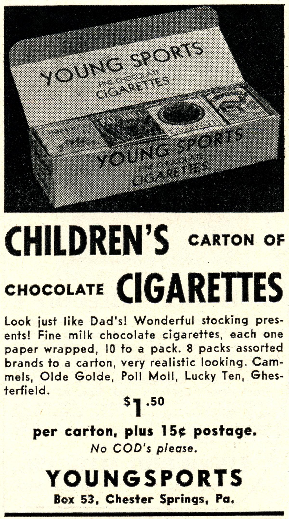 Czekoladki dla dzieci w opakowaniach przypominających paczki papierosów. Producent nieznany