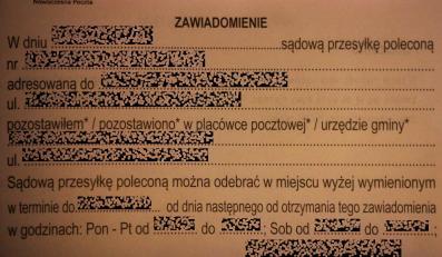 Przesyłka sądowa dostarczana przez PGP