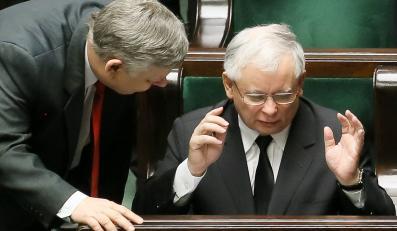 Jarosław Kaczyński rozmawia z Markiem Suskim