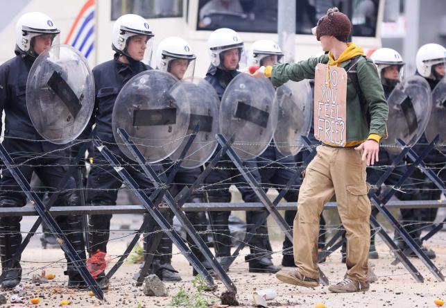 Protest związkowców w Brukseli