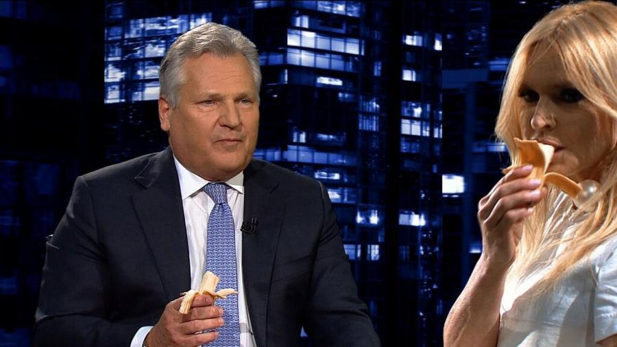 Aleksander Kwaśniewski i Monika Olejnik zjedli banany