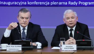 Prof. Piotr Gliński i prezes PiS Jarosław Kaczyński