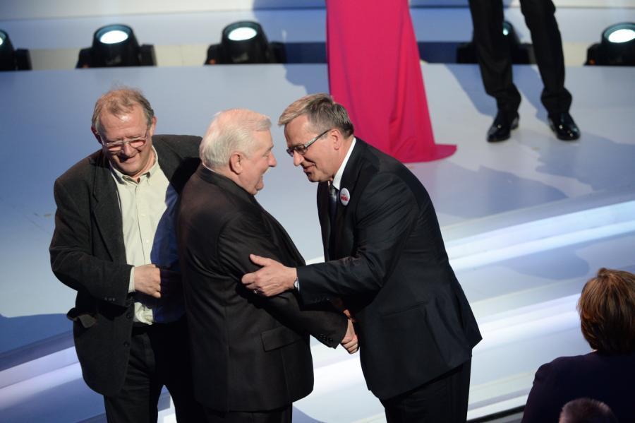 Adam Michnik, Lech Wałęsa i Bronisław Komorowski