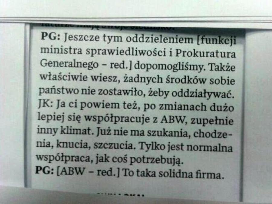 Fragment rozmowy Graś-Krawiec opublikowany przez dziennikarza Michała Majewskiego z \