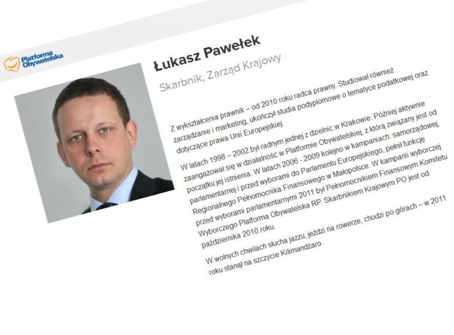 Łukasz Pawełek, skarbnik PO (źródło: www.platforma.org)