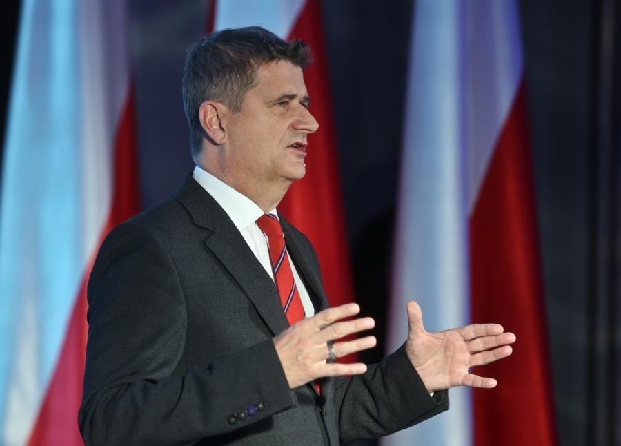 Janusz Palikot podczas odbywającej się w Warszawie konwencji samorządowej Twojego Ruchu