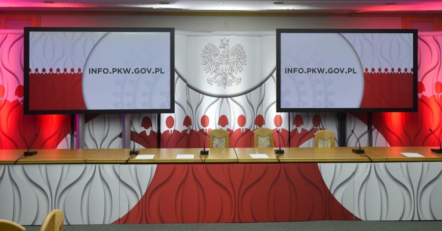 Sala konferencyjna Państwowej Komisji Wyborczej w Warszawie