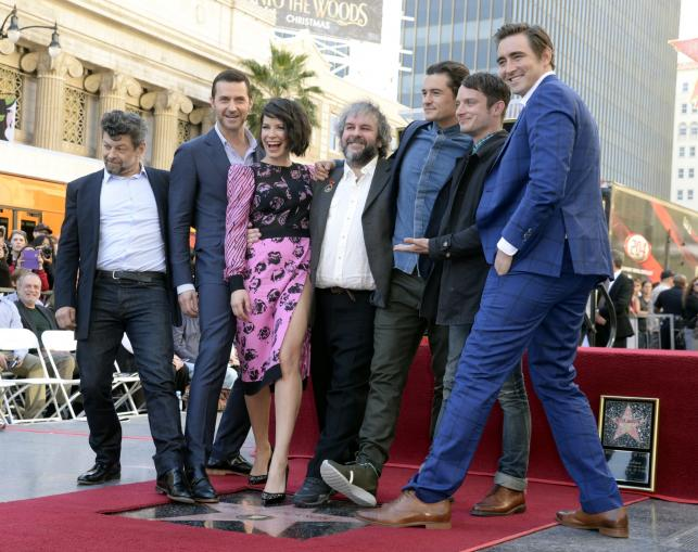 Peter Jackson i jego gwiazdy: Andy Serkis, Richard Armitage, Evangeline Lilly, Peter Jackson, Orlando Bloom, Elijah Wood i Lee Pace