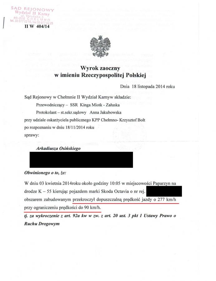 Skan wyroku sądu w Chełmnie