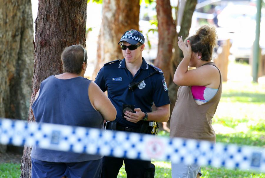 Policja i służby na miejscu zabójstwa