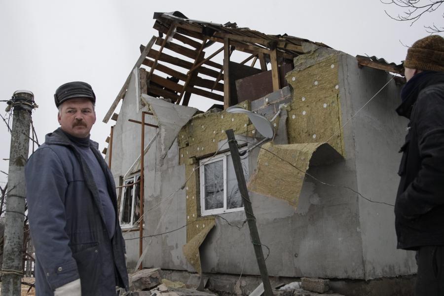 Zniszczony dom w Doniecku