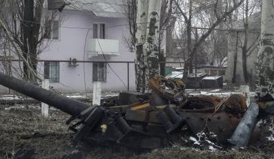 Zniszczony czołg w Donbasie