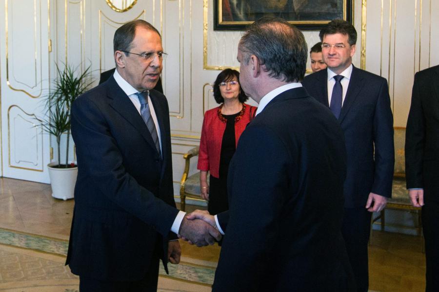 Andrej Kiska i Siergiej Ławrow