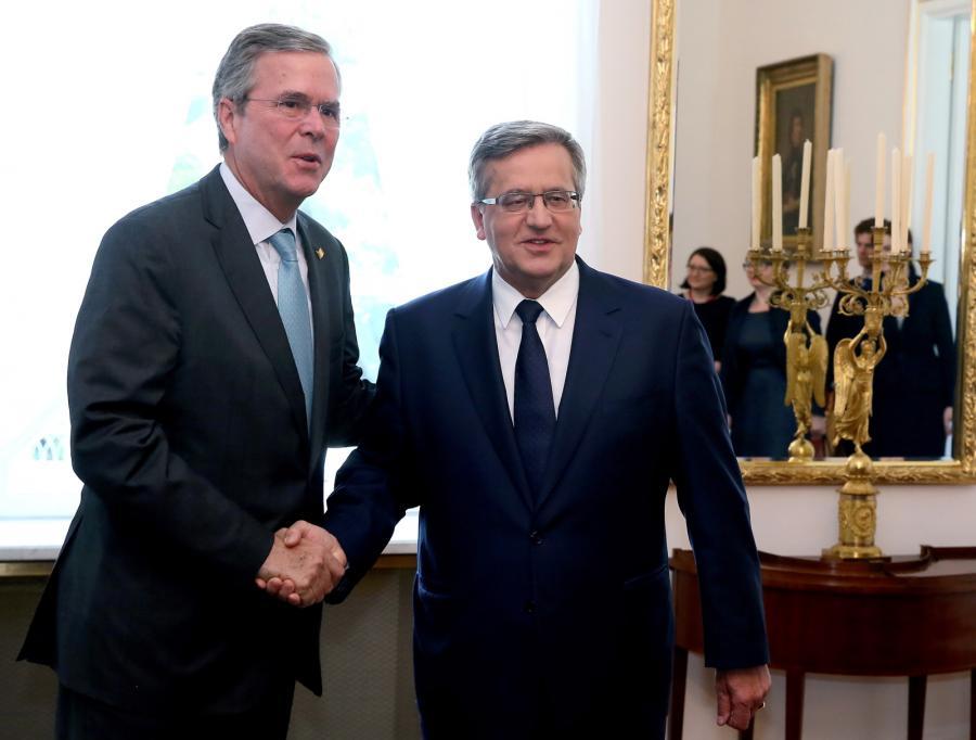 Prezydent Bronisław Komorowski i były gubernator Florydy Jeb Bush