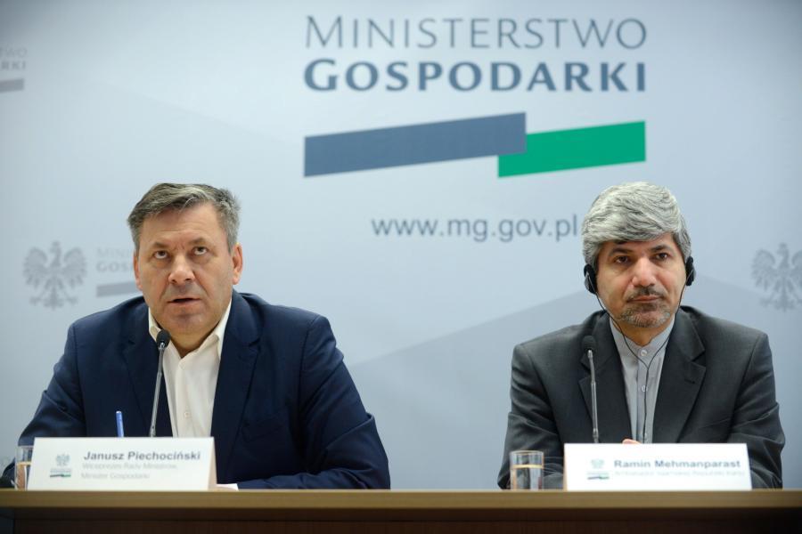 Janusz Piechociński i ambasador Iranu w Polsce Ramin Mehmanparast