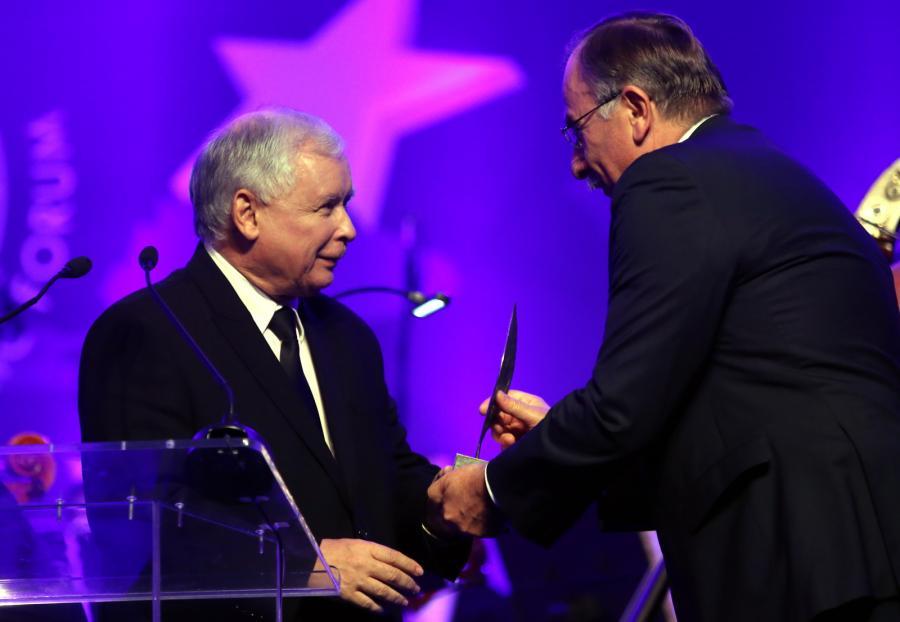 Jarosław Kaczyński odbiera tytuł Człowieka Roku