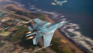 Grafika komputerowa pzedstawiająca dwa rosyjskie myśliwce Su-27