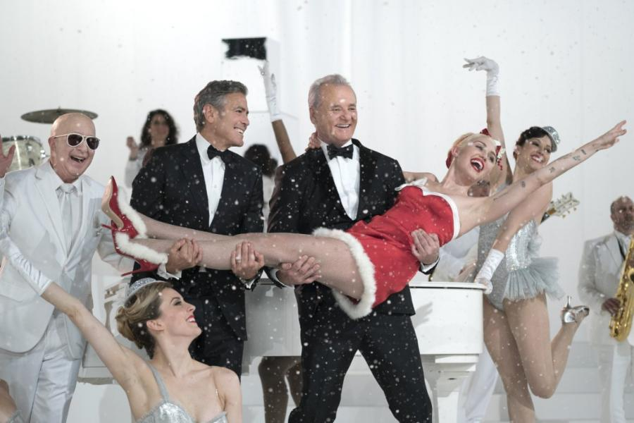 Świąteczny Bill Murray z Miley Cyrus i Georgem Clooneyem