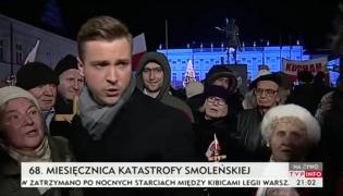 Miesięcznica smoleńska. Dziennikarz TVP Info poturbowany pod Pałacem Prezydenckim
