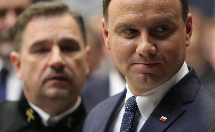 Prezydent Andrzej Duda (P) i przewodniczący NSZZ \