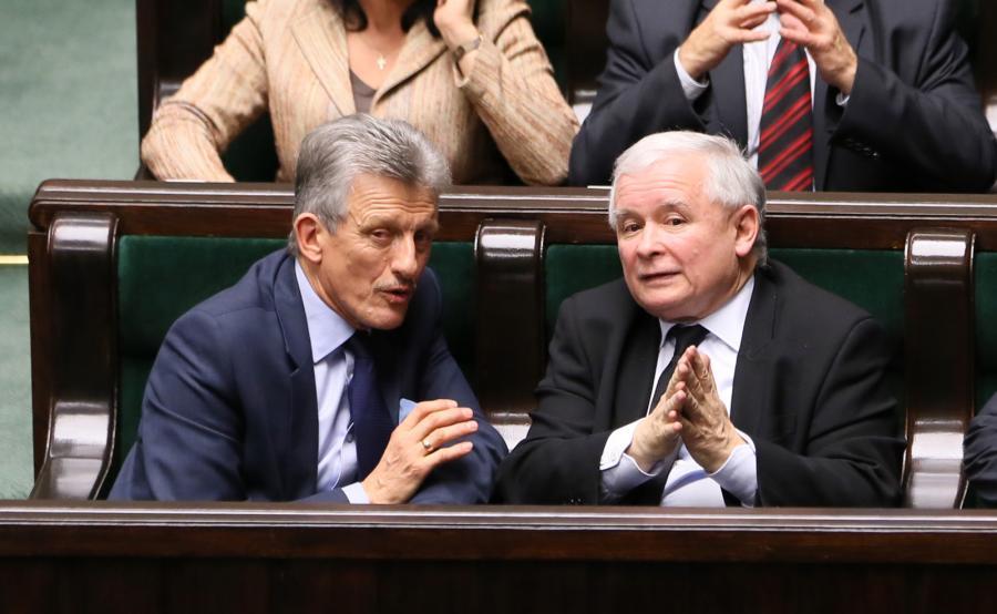 Prezes Prawa i Sprawiedliwości Jarosław Kaczyński oraz poseł PiS Stanisław Piotrowicz