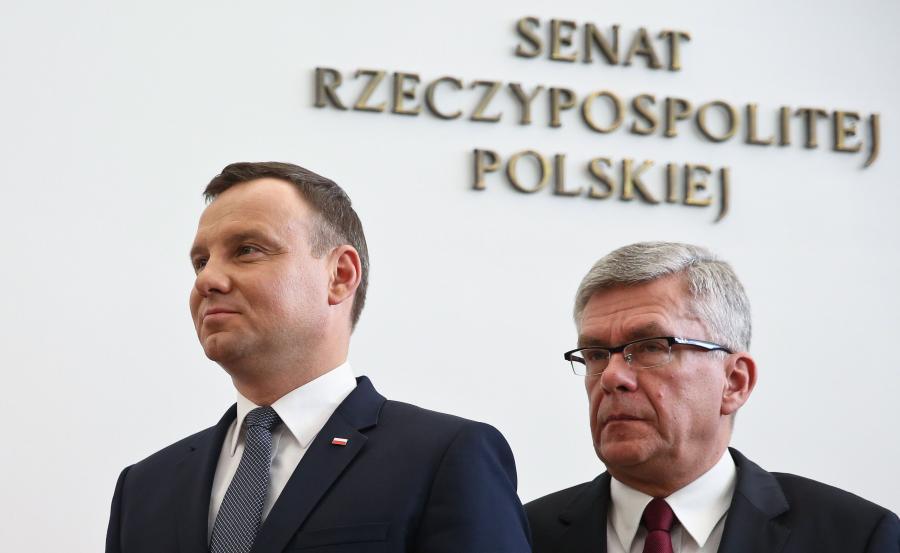 Prezydent Andrzej Duda i marszałek Senatu Stanisław Karczewski