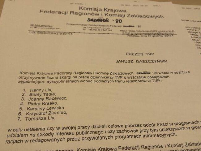 List Komisji Krajowej Federacji Regionów i Komisji Zakładowych Solidarność\'80