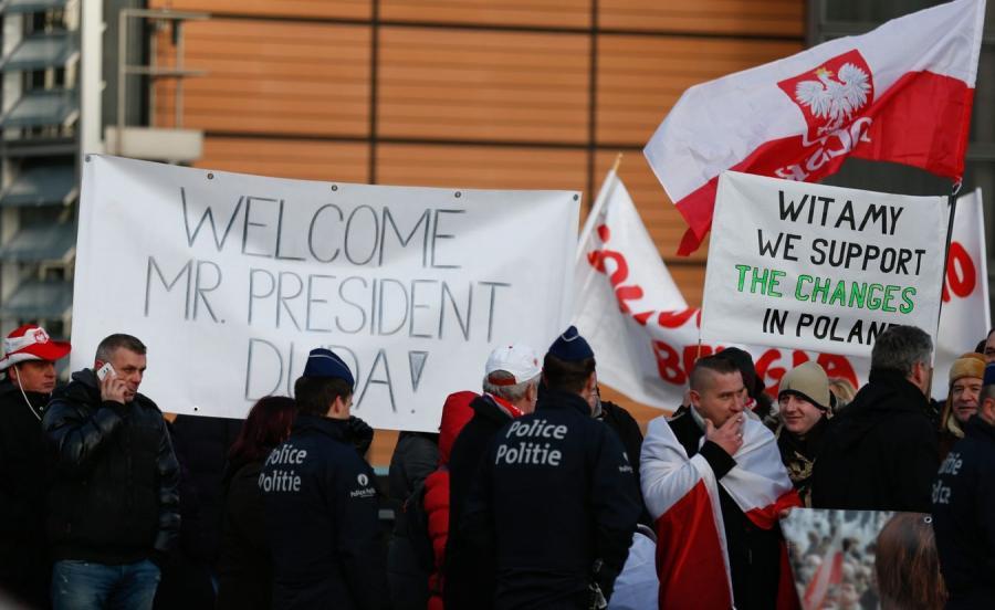 Wiec poparcia dla prezydenta Andrzeja Dudy w Brukseli