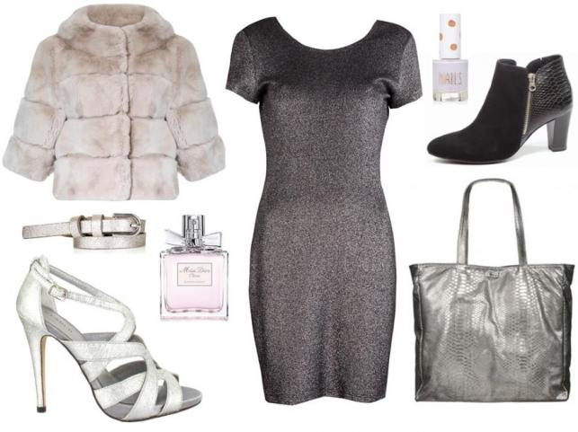 Sukienka - Rabarbar/rabarbar.com.pl, futro - Hera Moda Studio/hera.com.pl, torba - Antbag By Ania/antbags.pl, buty - Caprice/caprice.pl, buty - Menbur/menbur.pl, perfumy - Dior, lakier do paznokci - Top Shop, pasek - Top Shop