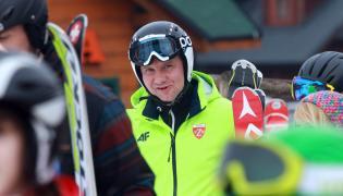Prezydent Andrzej Duda na stoku narciarskim w Istebnej