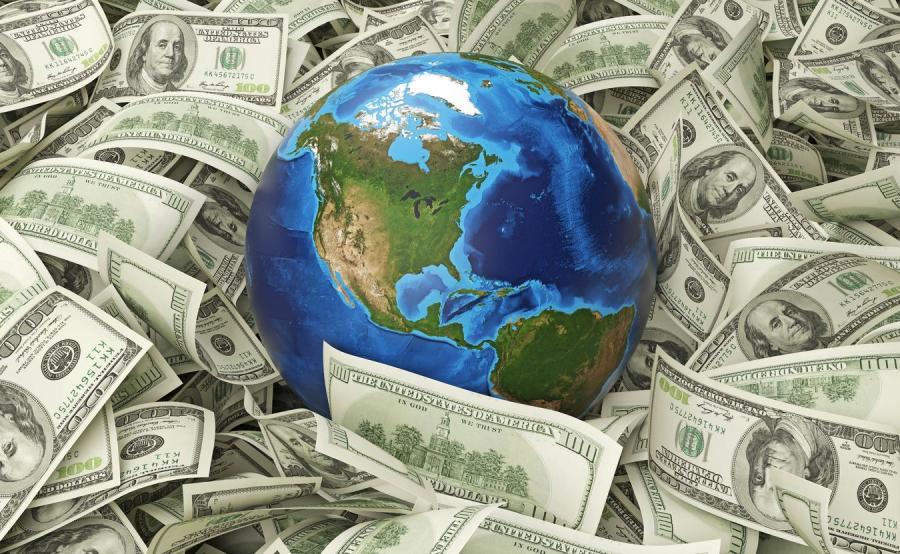 Kula ziemska otoczona dolarami