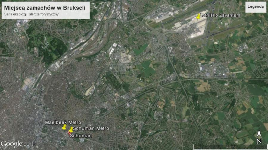 Bruksela miejsca zamachów mapa