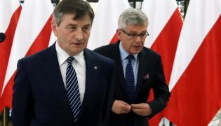 Marszałek Senatu Stanisław Karczewski i marszałek Sejmu Marek Kuchciński