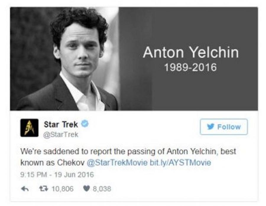 Na oficjalnym koncie Star Treka na Twitterze pojawił się post z kondolencjami
