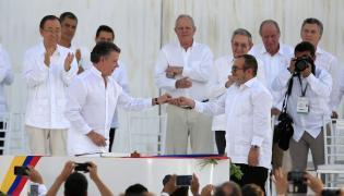 Prezydent Kolumbii i lider FARC