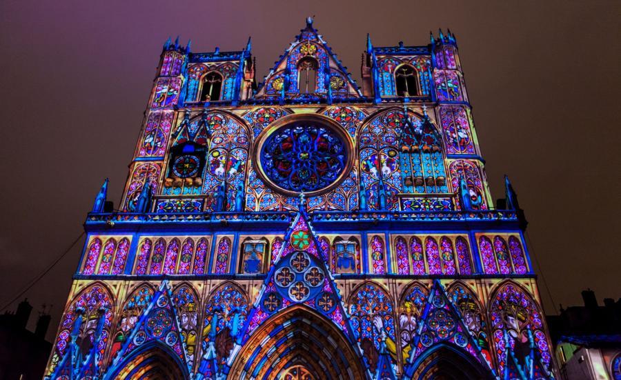 Katedra w Lyonie podczas Święta Świateł